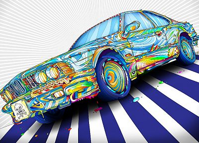 BMW, cars, vivid colors, fan art, Matei Apostolescu - desktop wallpaper