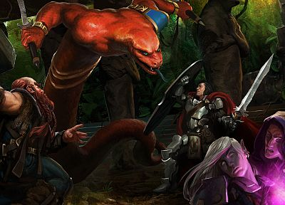 fantasy art, naga, elves, dwarfs, artwork - related desktop wallpaper