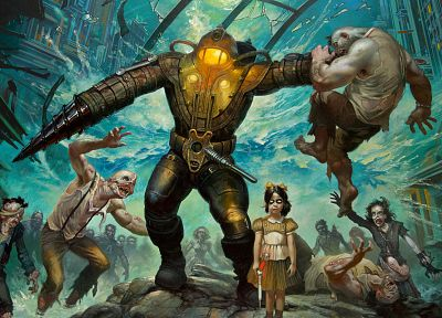 video games, Big Daddy, Little Sister, BioShock - desktop wallpaper