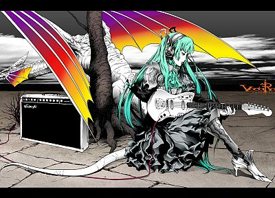dragons, Vocaloid, Hatsune Miku, armor, guitars, drawn, anime girls - desktop wallpaper