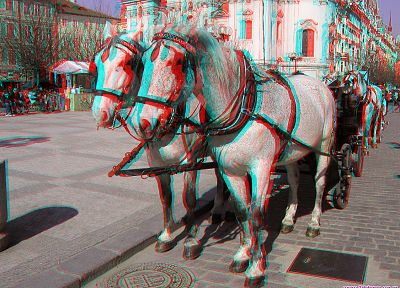 horses, anaglyph, 3D, cities - random desktop wallpaper