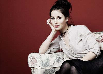 women, skirts, pantyhose, Lena Meyer-Landrut, black hair - random desktop wallpaper