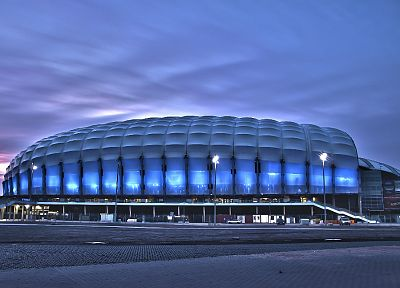 night, architecture, stadium, Poznan - related desktop wallpaper