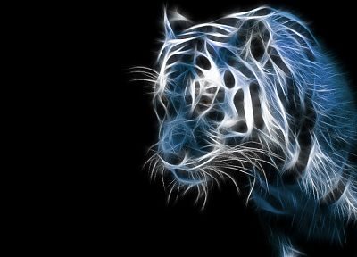 blue, black, animals, tigers, Fractalius, digital art, artwork, digtal art - desktop wallpaper