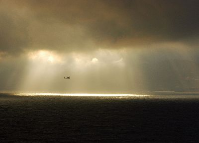 ocean, helicopters, vehicles, sea - desktop wallpaper