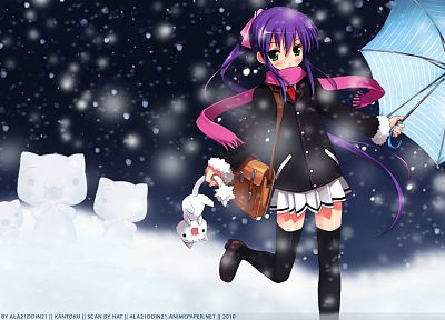 snow, cats, purple hair, anime, umbrellas, scarfs, Little Busters! - related desktop wallpaper