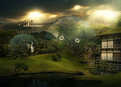 landscapes, nature, Desktopography, photo manipulation - desktop wallpaper