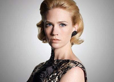 blondes, women, dress, blue eyes, January Jones, Mad Men, earrings, portraits - random desktop wallpaper