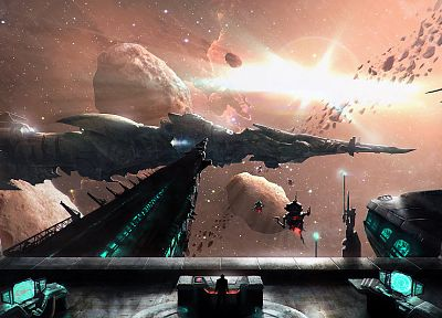outer space, stars, spaceships, artwork, asteroids - related desktop wallpaper