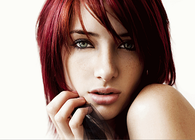 women, Susan Coffey, redheads, models, faces, white background - random desktop wallpaper