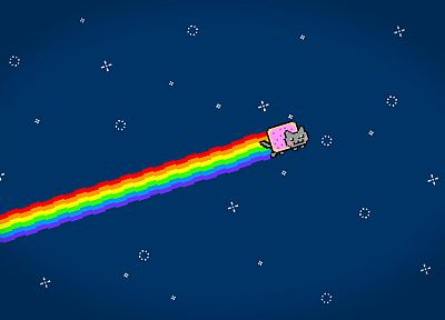 outer space, rainbows, Nyan Cat - random desktop wallpaper