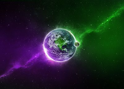 green, outer space, multicolor, stars, planets, Moon, purple, Earth - desktop wallpaper