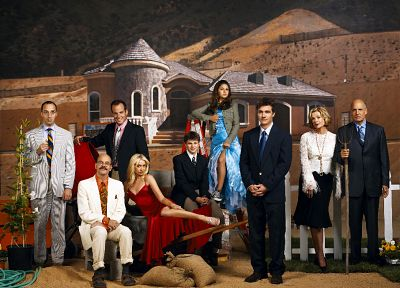 suit, Portia De Rossi, red dress, Arrested Development, Michael Cera, Jason Bateman, Will Arnett, David Cross, Alia Shawkat, Tony Hale, Jeffrey Tambor, Jessica Walter, television cast - random desktop wallpaper