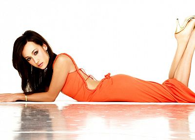 brunettes, women, high heels, Maggie Q, orange dress, white background - desktop wallpaper