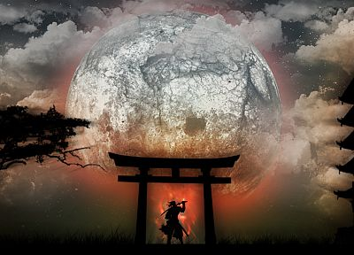 Japan, Moon, samurai, drawings - related desktop wallpaper