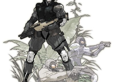 guns, Metal Gear Solid, Solid Snake, Raiden, fan art, white background, XM8 - desktop wallpaper