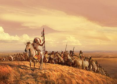 paintings, landscapes, valleys, horses, Indians, artwork, spears, skyscapes, leader, tribes - desktop wallpaper