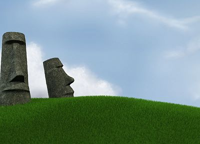 Easter Island, moai, multiscreen, photo manipulation - related desktop wallpaper