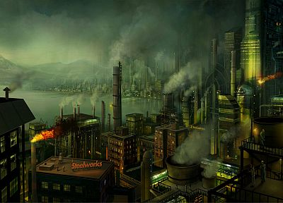 cityscapes, smoke, buildings, concept art, industrial plants, chimneys, factories, workers, Philip Straub - random desktop wallpaper