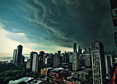 clouds, cityscapes, Chicago, buildings - desktop wallpaper
