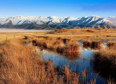 mountains, landscapes, nature, New Zealand, swamp - desktop wallpaper