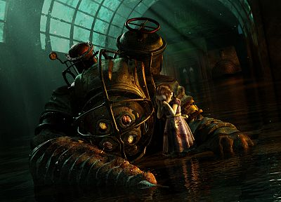 video games, Big Daddy, Little Sister, BioShock, Rapture, BioShock 2, crying - related desktop wallpaper