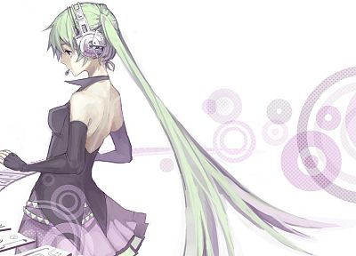 headphones, Vocaloid, gloves, Hatsune Miku, green hair, elbows, twintails - random desktop wallpaper