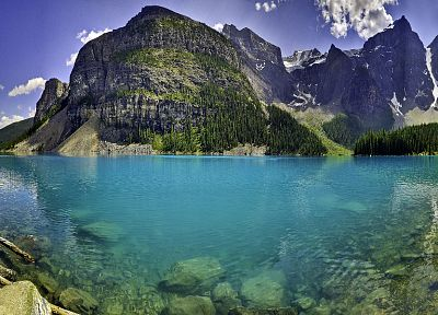 mountains, landscapes, nature, cliffs, Moraine Lake - related desktop wallpaper