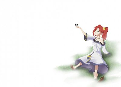 red, dress, white, simple background, anime girls, Fractale, butterflies - related desktop wallpaper