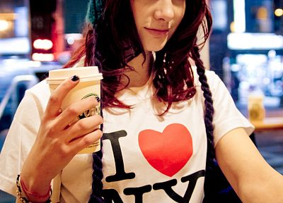 women, Susan Coffey, coffee, redheads, models, New York City, t-shirts, hats - related desktop wallpaper