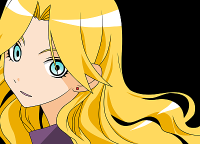 blondes, Sayonara Zetsubou Sensei, blue eyes, long hair, transparent, earrings, open mouth, simple background, anime girls, faces, looking back, Kimura Kaere, bangs, anime vectors - related desktop wallpaper