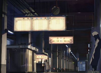Makoto Shinkai, train stations, lonely, 5 Centimeters Per Second - desktop wallpaper