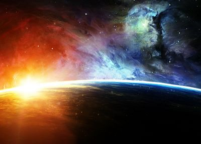 outer space, planets, sunlight - random desktop wallpaper