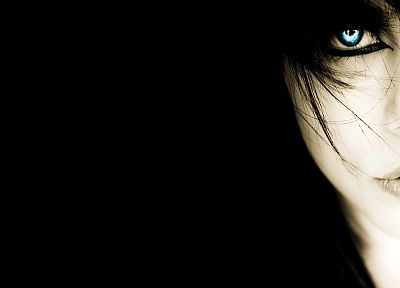 women, black, blue eyes, black background - related desktop wallpaper