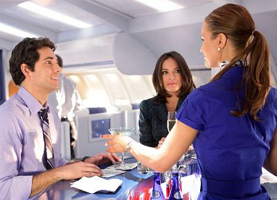 TV, aircraft, interior, Kristin Kreuk, Zachary Levi, airliners - desktop wallpaper