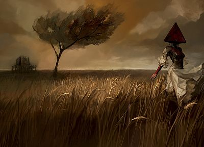 creepy, clouds, landscapes, trees, dress, fields, Silent Hill, artwork, Pyramid Head - related desktop wallpaper