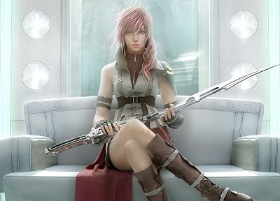 boots, Final Fantasy, video games, uniforms, gloves, indoors, Final Fantasy XIII, Claire Farron, 3D, swords, leather boots, girls with weapons - random desktop wallpaper