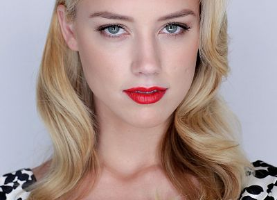 blondes, women, blue eyes, actress, Amber Heard, white background, red lipstick - desktop wallpaper