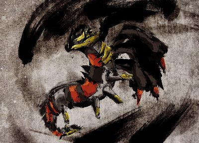 Pokemon, sumi-e, giratina - random desktop wallpaper