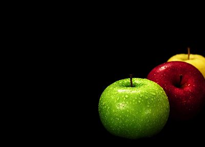 fruits, food, apples, black background - related desktop wallpaper