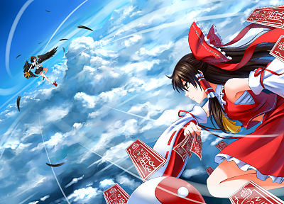 brunettes, video games, clouds, Touhou, wings, flying, fight, skirts, long hair, ribbons, socks, brown eyes, feathers, Miko, red eyes, short hair, Hakurei Reimu, battles, Shameimaru Aya, bows, red dress, ponytails, profile, skyscapes, hats, Japanese cloth - related desktop wallpaper