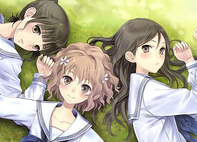 school uniforms, Hanasaku Iroha, Matsumae Ohana, Tsurugi Minko, Oshimizu Nako, anime girls, sailor uniforms - random desktop wallpaper