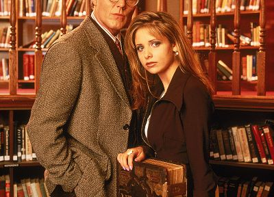 Sarah Michelle Gellar, library, Buffy the Vampire Slayer, Buffy Summers, Rupert Giles - random desktop wallpaper
