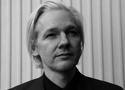 Julian Assange, monochrome - random desktop wallpaper