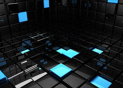 3D view, abstract, blue, black, dark, cubes, reflections - related desktop wallpaper