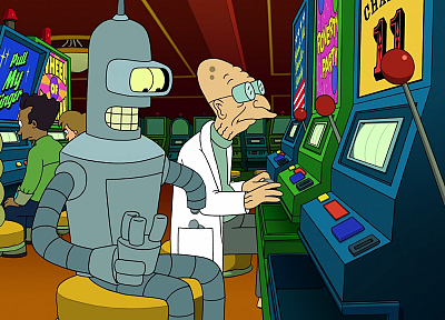 Futurama, Bender, screenshots, Professor Farnsworth - random desktop wallpaper