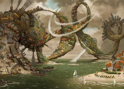 water, abstract, fantasy, houses, ships, surreal, octopuses, digital art, artwork, vehicles, cities, spirals, sea - related desktop wallpaper