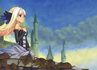 blondes, castles, dress, blue eyes, Odin Sphere, soft shading, Vanillaware, Gwendolyn, anime girls - related desktop wallpaper