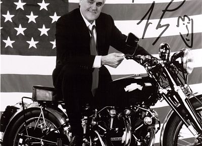 TV, vehicles, signatures, American Flag, Jay Leno, motorbikes, TV shows - random desktop wallpaper
