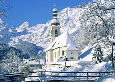 mountains, nature, winter, Germany, churches - related desktop wallpaper
